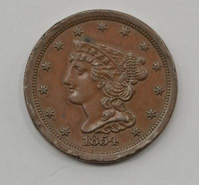 1854 Braided Hair Half Cent *Q10