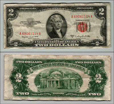 1953B $2 Dollar Bill Old Us Note Legal Tender Paper Money Currency Red Seal Z200