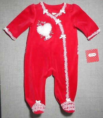 Little Me Infant Girls Lacey Red My First X-Mas Romper Pj's C Sz's Avail Nwt's