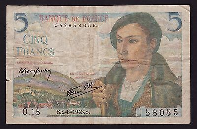France 5 Francs Banknote 2nd June 1943 P-98a.1