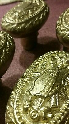 Old Lot of 4 Ornate Solid heavy brass Doorknobs Antique Hardware
