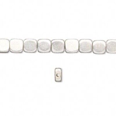 """16"""" Strand Silver Plated Brass Flat Square Pillow Beads ~ 5x5x3mm *"""