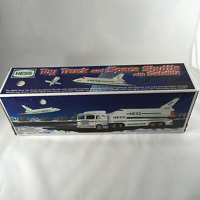 NEW 1999 Hess Toy Truck and Space Shuttle with Satellite with Lights and Sound