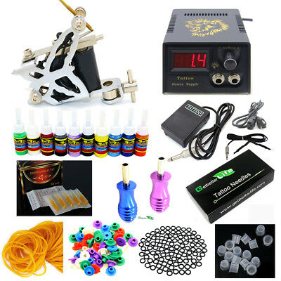 Pro New Tattoo Kit 1 Tattoo Machine Guns 10 Color inks Power Supply Set