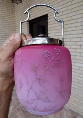 Mt Washington type HOT PINK SATIN GLASS Hand Painted Enamel BISCUIT JAR ~1800's~