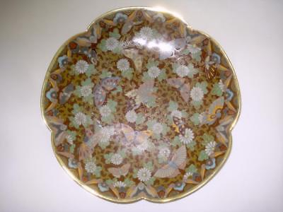 Antique Japanese Cloisonne Butterfly Plate Dish Meiji Period