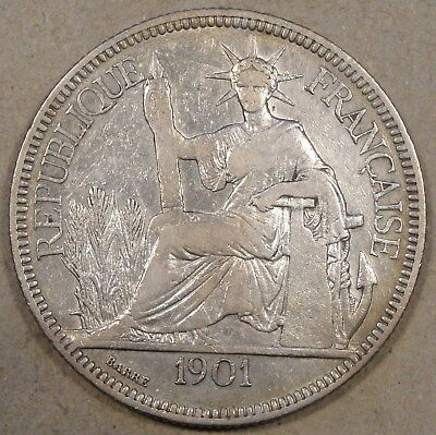 French IndoChina 1901-A Piastre Mid Grade