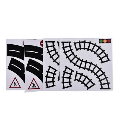 2 Black&White Set Railway Road Wide Traffic Sticky Paper For Kids Toy Car Play Z