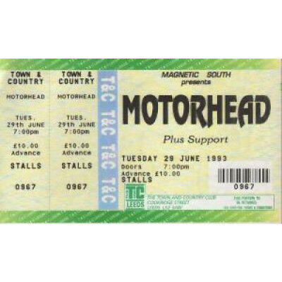 MOTORHEAD Town And Country Leeds 29/6/93 TICKET UK Unused Full Ticket And Stub