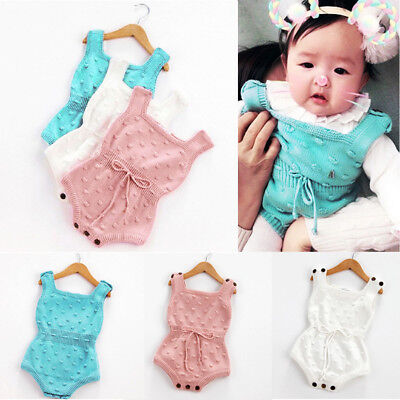 Newborn Baby Girls Sleeveless Knitted Romper Jumpsuit Knit Outfits Clothes Mon