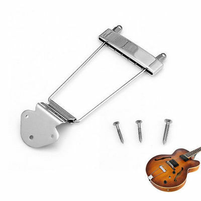 6 String Silver Guitar Tailpiece Trapeze Open Frame Bridge For Archtop Guitar