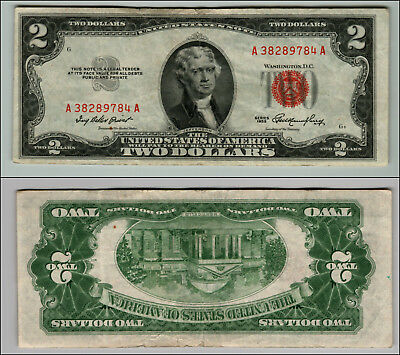 1953 $2 Dollar Bill Old Us Note Legal Tender Paper Money Currency Red Seal P117