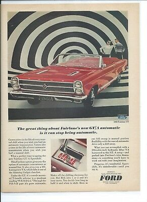 Original 1966 Vintage Print Ad for the Ford Fairlane GT