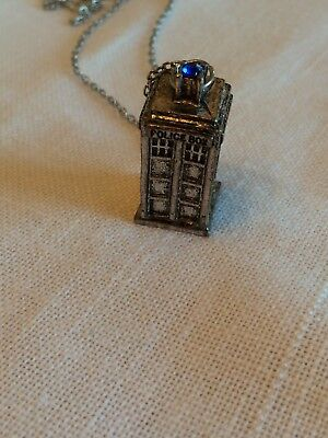 """3D Doctor Who TARDIS pewter Police Box Pendant necklace 11"""" long"""