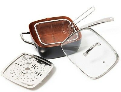 Non Stick Black & Copper Saute Chef Frying Fry Deep Square Pan with Induction