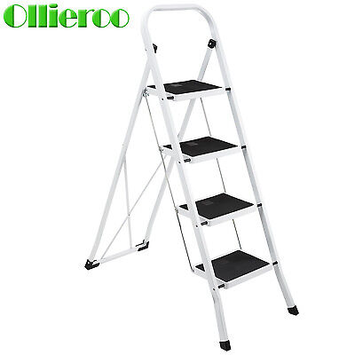 4 Step Foldable Non-Slip Ladder 300lbs Lightweight Home Office Portable