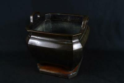 J7129: Japanese XF Old Copper China crest Silver inlay CHACOAL BRAZIER Hibachi
