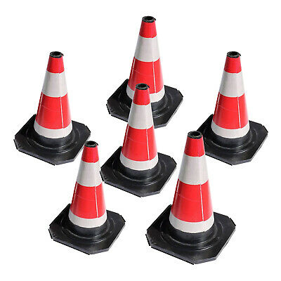 "6pcs 18"" Road Traffic Cones Self weighted safety cone Barriers Control Sign"