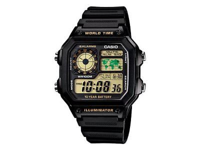 CASIO Vintage Retro AE1200WH-1B AE-1200WH-1B 10-Year Battery World Time @