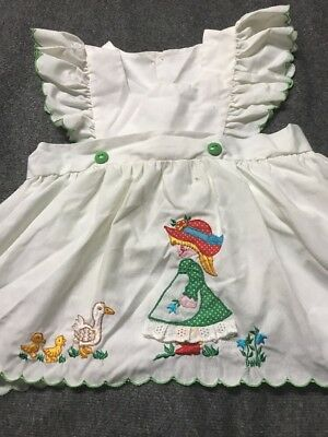 VTG 50's 60'S  Baby Girl Toddler Pinafore Dress With Embroidered Ducks And Girl