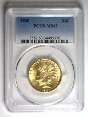 1926 ~ PCGS MS63 ~ $10 Indian Gold ~ PCGS MS 63 #370