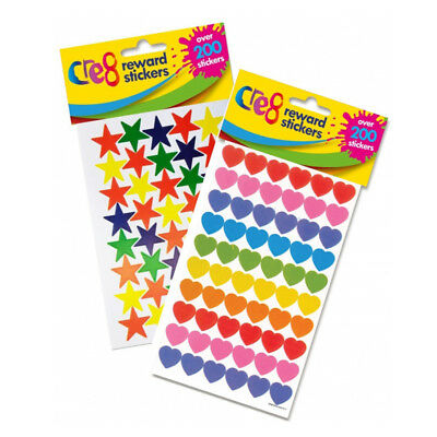 Hearts Or Stars 1 Pack Of 6 Sheets Childrens Reward Bahaviour Chart Stickers