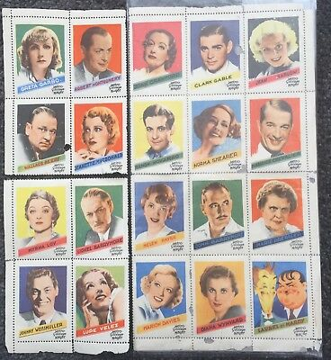 Old MGM Movie Star Stamps Stickers 1930,s? Incl. Laurel And Hardy