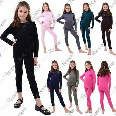 New Kids Girls Turtle Polo Neck 2 Piece Top Bottom Set Loungewear Suit Tracksuit
