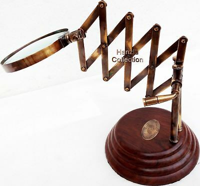 Desk Top Channer Magnifier Brass Magnifying Glass Vintage Style on Wooden Stand