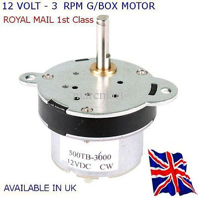 12V DC HIGH TORQUE Electric Motor/Gearbox 3 RPM - All Projects Available in UK