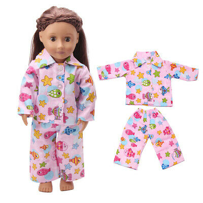 """Dolls Shirt Pants Pajamas Suit Sleeping Clothes for 18"""" AG American Doll Doll"""
