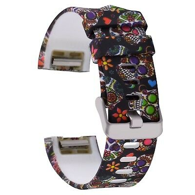 FLORAL SKULL SILICONE Large Wristband Band Strap Bracelet For FITBIT CHARGE 2