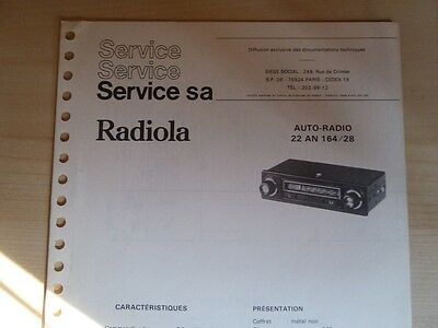Doc. technique Autoradio Radiola 22 AN 164 / 28