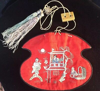 Antique Chinese Silk Embroidered Purse