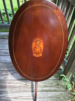 1876 Centennial Tilt Top Table, Inlaid Patriotic 1776 Medalion