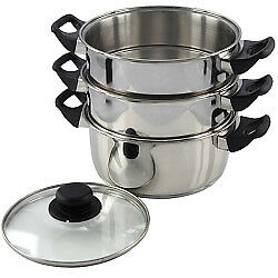 3pc Stainless Steel 20cm Steamer Cooker Set Glass Lids 3 Tier Cooking Chrome NEW