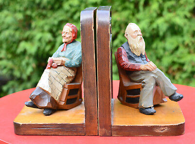 Attrib. Andre BOURGAULT St Jean Port Joli Bookends Pair Painted Wood Hand carved