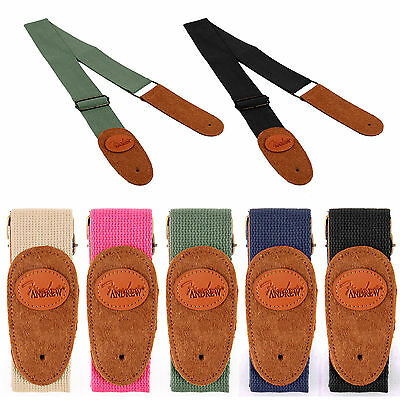 Adjustable multiple Colour Cotton Guitar Strap Leather Electric Leather Ends