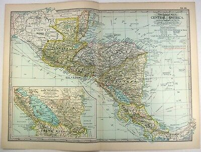 Central America 1897 Map by The Century Company. Original Antique Map