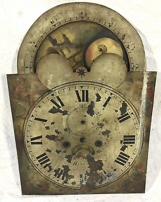 "Antique Long Case Grandfather Rolling Moon Dial Radford Hanley 20"" By 14"""