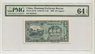 China Shantung Exchange Bureau 20 Coppers 1936 Pmg Choice Unc 64