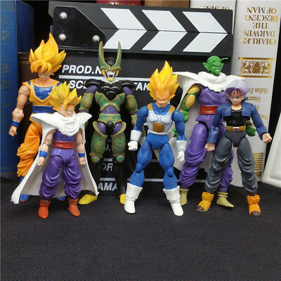 "6pcs Dragon Ball 5"" Figures: Piccolo Cell Trunks Super Saiyan Goku Gohan Vegeta"