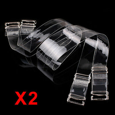 2 Pair Transparent Plastic Bra Straps Invisible Adjustable Detachable Metal Hook