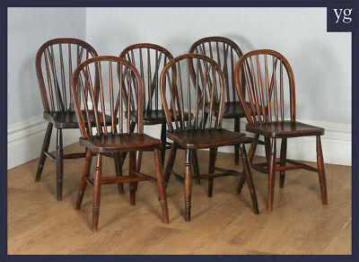 Antique Set 6 Six Victorian Ash & Elm Country Stick Back Kitchen Dining Chairs