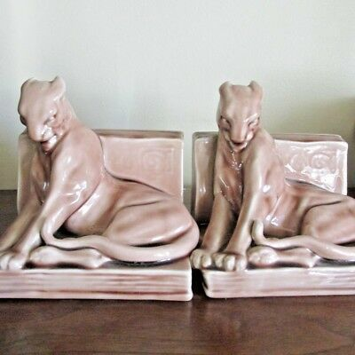 Rookwood 1937 Panther Cats Bookends Beige 2 Ends #2564  William McDonald signed