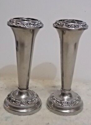 Pair of Silver Plated Rose Flower Trumpet Shaped Vases with glass inserts. 14 cm