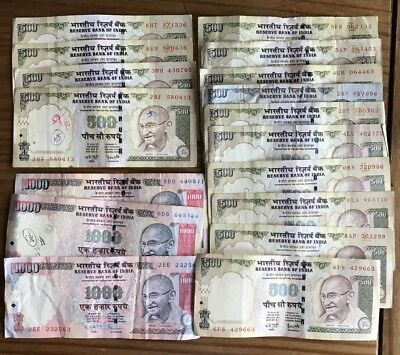 INDIA x 17 Banknotes  500 Rupees x 14 and 1000 Rupees x 3