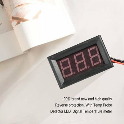 Red DC12V Digital Thermometer With Temp Probe Temperature LED Detector SW