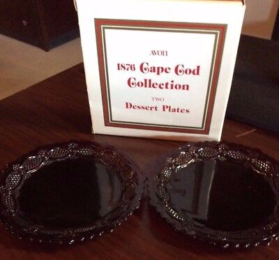 Avon 1876 Cape Cod Collection Ruby Red 2 Dessert Plates New in Box