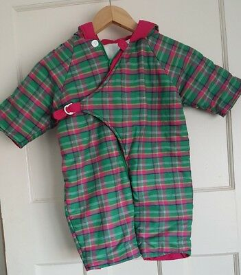 Vintage Checked Padded Snowsuit Baby Girls Age 6-12 Months